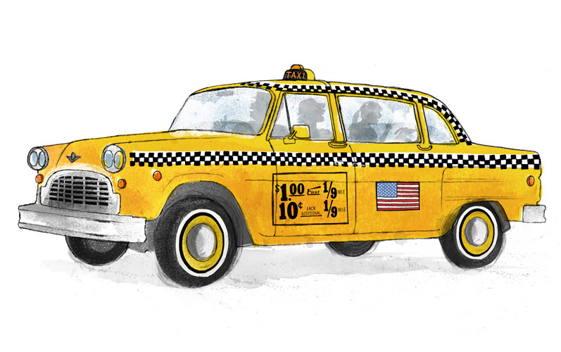 Funny taxi car cartoon. Taxi car cartoon isolated on white ... |Yellow Taxi Cab Drawing